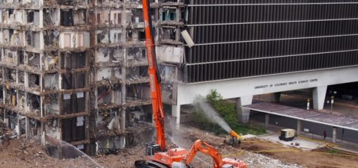 URBAN DEMOLITION PROJECT USES ATOMIZED MIST TO COMPLY WITH DUST REGULATIONS